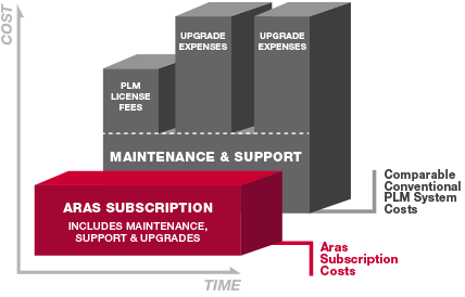 Cost over time for maintencance and subscription bar graph