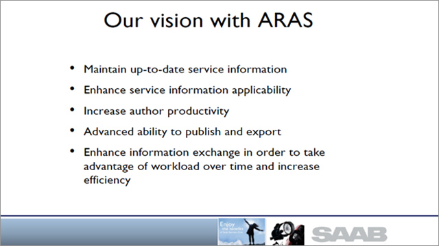 SAAB and Global Product Definition to Serviceability with Aras