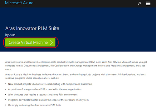 How to create the Azure Certified Aras Innovator virtual machine